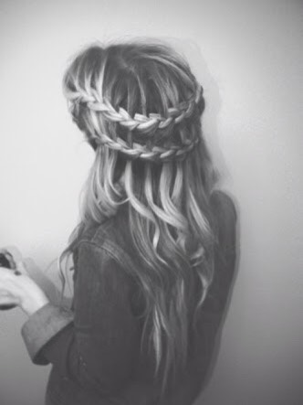 ~Ladder braid~  First you need to do a water fall braid. Then add those fallen strands into another waterfall braid underneath.