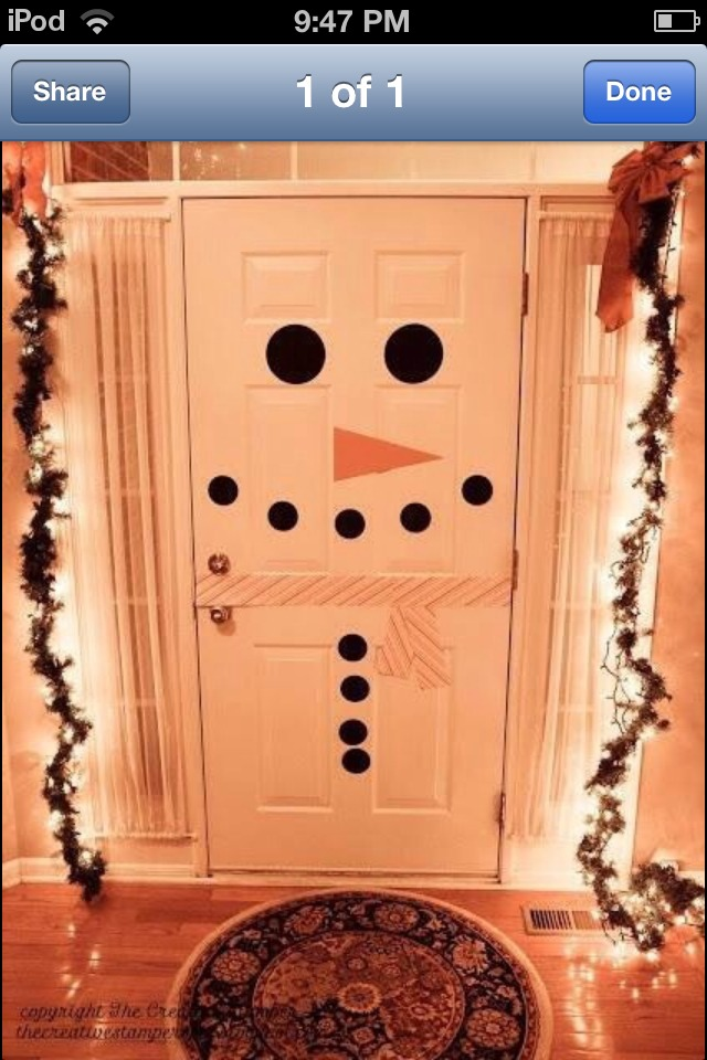 Transform a plain door to a cute snowman