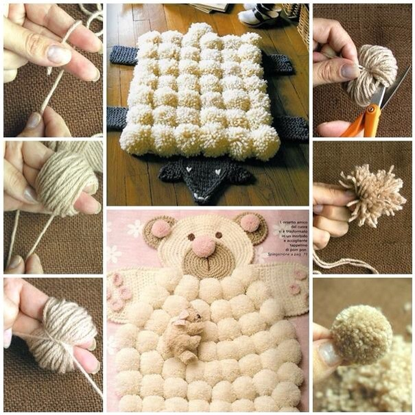 Double click to see full view zoom if needed.......... Crochet an animal flat then add Pom Poms how you would add them to the Pom Pom rug tutorial I posted...