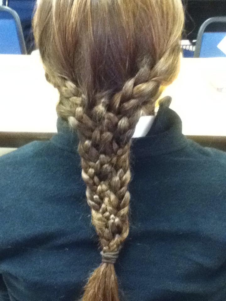 Five regular braids braided together....20 strand braid👌