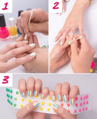 No need to use any professional nail art kit. Use a cotton swab to make dots!