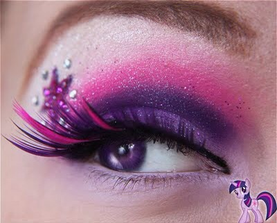 This works for a softer but still dramatic look. Use MAC pigments and false lashes from Sephora
