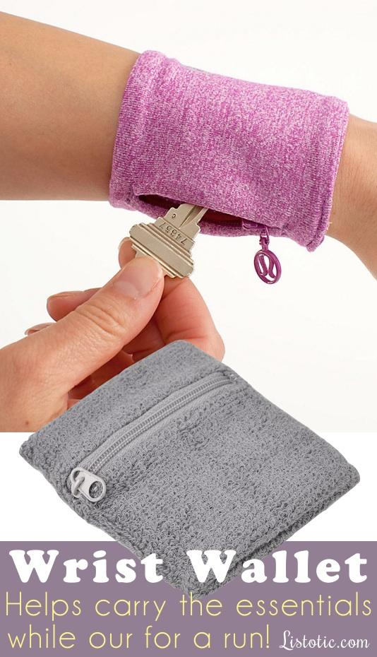 6. Wrist Wallet Where has this been all of my life?! Stash your house key, cash, or anything else you might need while out for a walk or run. In my case that would be a tube of Lipsmackers cotton candy chap stick. They also make some of these big enough to hold a phone.