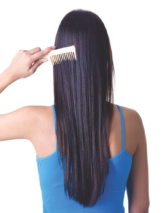Use wide teeth combs for less pull and force on knotted hair