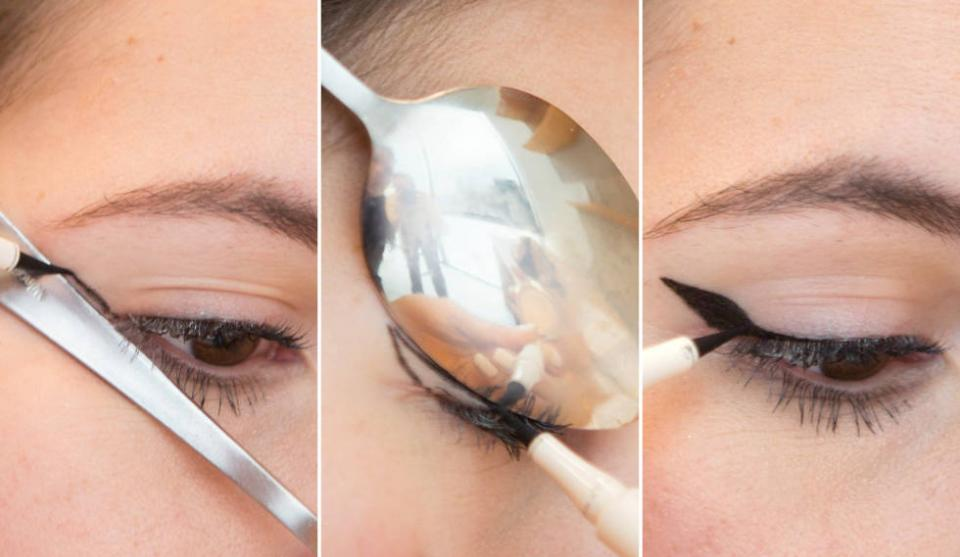 12. Use the edges and curves of a spoon to master the perfect cat-eye shape. Use the handle of the spoon to draw the angled line and the curve of the spoon to create the shape. Then fill it in to finish the flick.