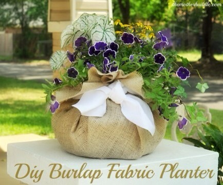 Burlap Planters  These adorable burlap fabric planters are perfect for tabletop accents or as gifts! They're quick and easy to make too.
