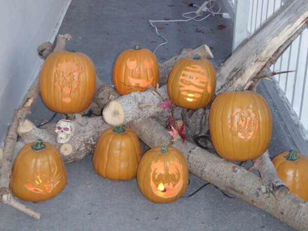 These are some I've carved.  I've lit them with orange christmas lights.