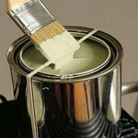 Place a rubber band around an open paint can to use as a brush-wipe.