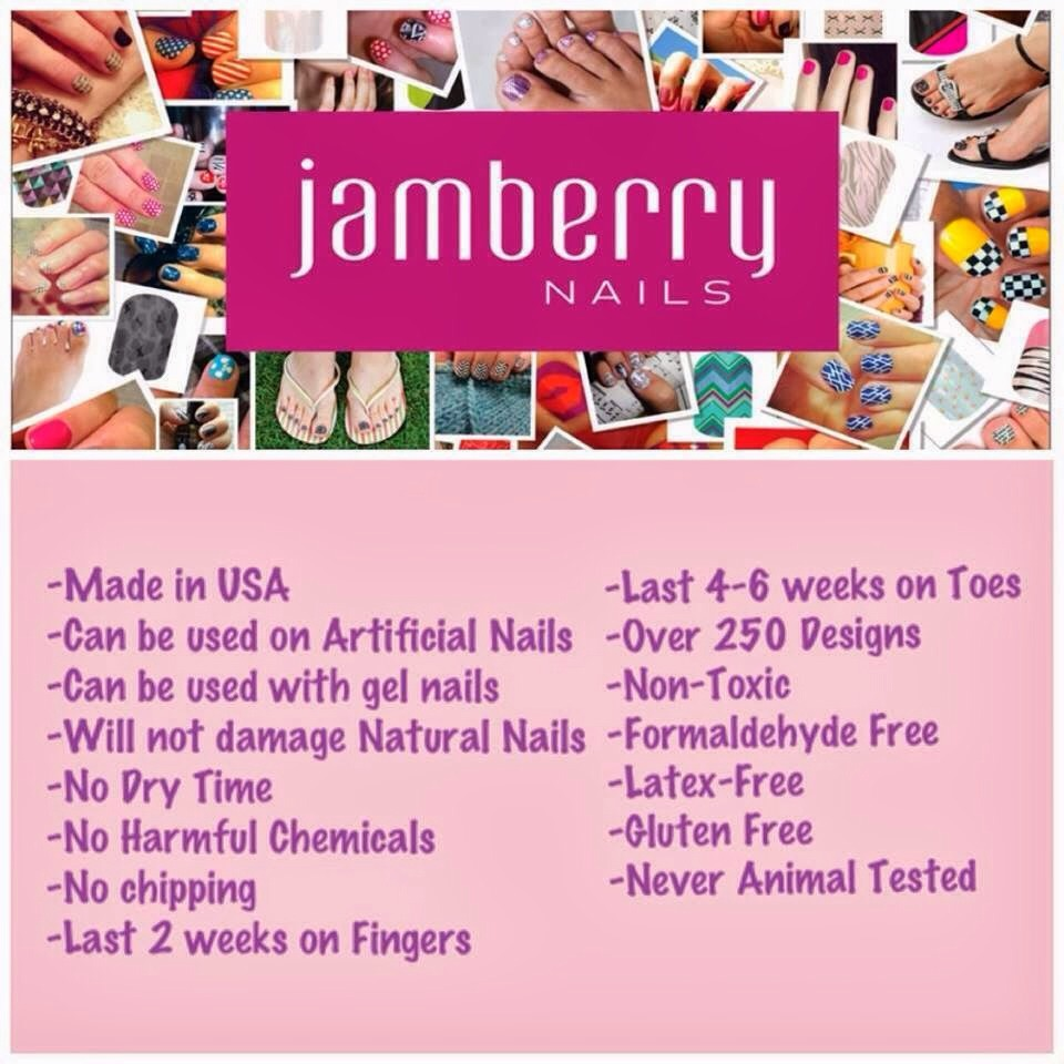 There are over 300 designs to choose from so you can always find one that matches your style! Above are some facts about Jamberry (on the left it's NO dry time,NO chipping, NO harmful chemicals, made in the USA, will not damage natural nails and lasts 1-2 weeks on fingers)