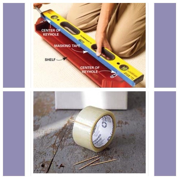 11.place a length of masking tape along the edge of a spirit level and mark the location of nail holes for your picture frame. Then simply transfer the level to the wall to ensure you hang the pictures straight  12. Use a toothpick to prevent tape ends from sticking back to the roll