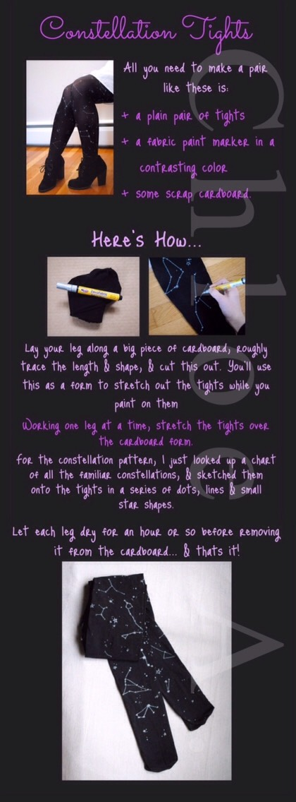 FROM |http://www.whattodowithlemons.com/diy-constellation-tights/