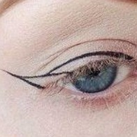 STEP3: - Draw the curve above your eyelash line. - The thickness of this line is up to you but make sure it dries before you wear it around because it can imprint onto your upper eye.