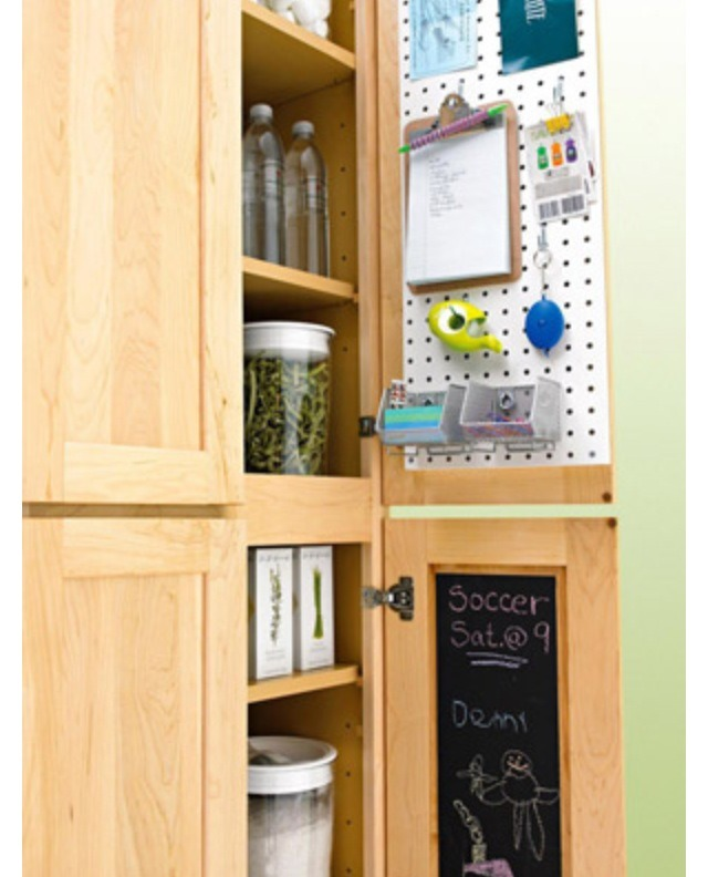 The inside of your cabinet doors.  Add peg board for hanging those everyday items.  Also you can paint the interior of your doors with chalk board paint with schedules, grocery list etc.. Without everyone having to see.