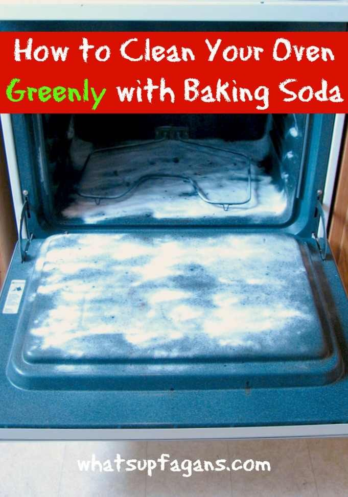 2) Then use baking soda as an abrasive by sprinkling it in the oven. Dampen paper towels or a cloth and scrub out the worst of the grime.