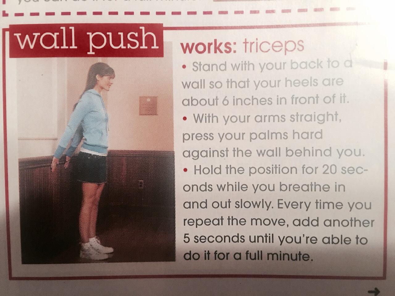 Wall Push strenghens triceps