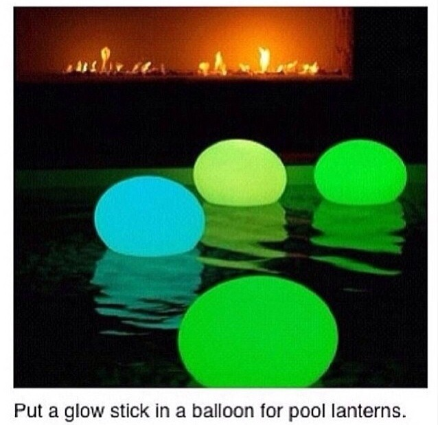 Very simple just put a glow stick in a balloon then blow the ballon up tie it then throw it in  your pool it gives off a lot of light and it saves a lot of money