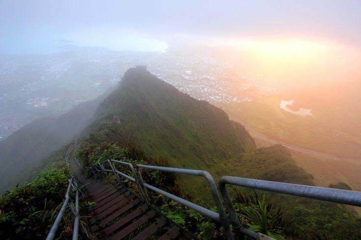 Haiku Stairs of Oahu in Hawaii United States