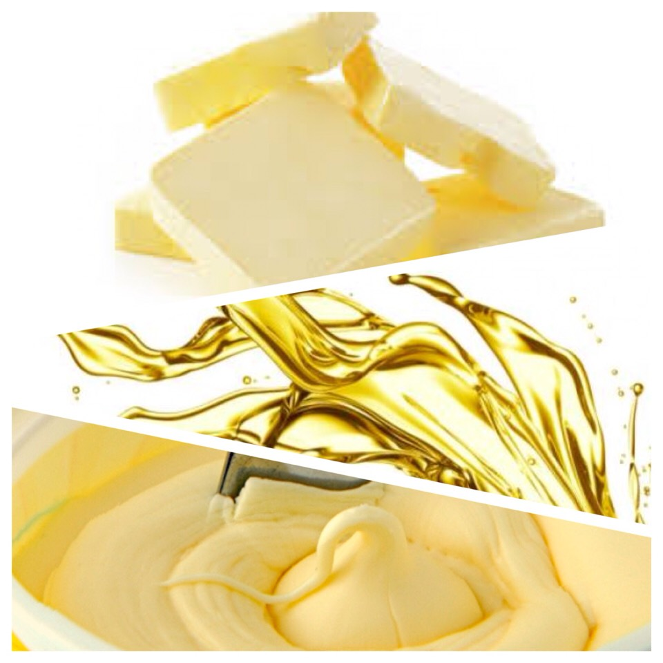 • Butter is ideal for creating tenderness & flakiness.  • Oil is best for creating chewy, soft textures.  • Margarine works to create a crispy texture. ~Just make sure to use margarine that is 80% veg oil. The fattier the better:)