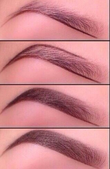 This is a diagram for natural looking eyebrows. This is easiest to do with an eyeshadow or a brow powder( they are both the same)