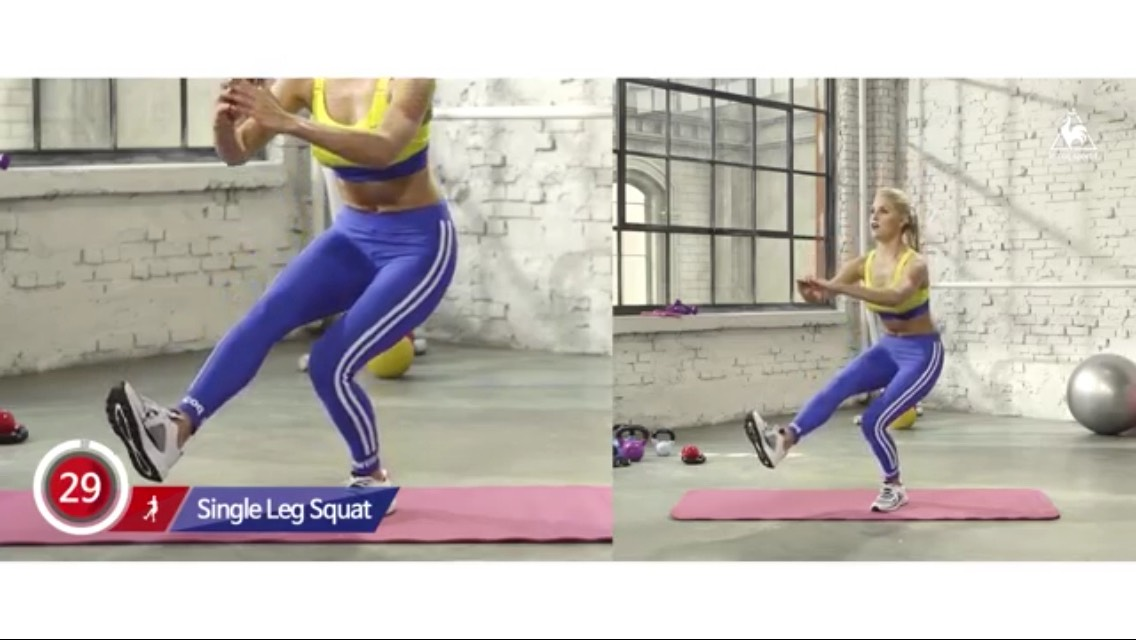 Sqaut with one leg for 30 sec and switch leg