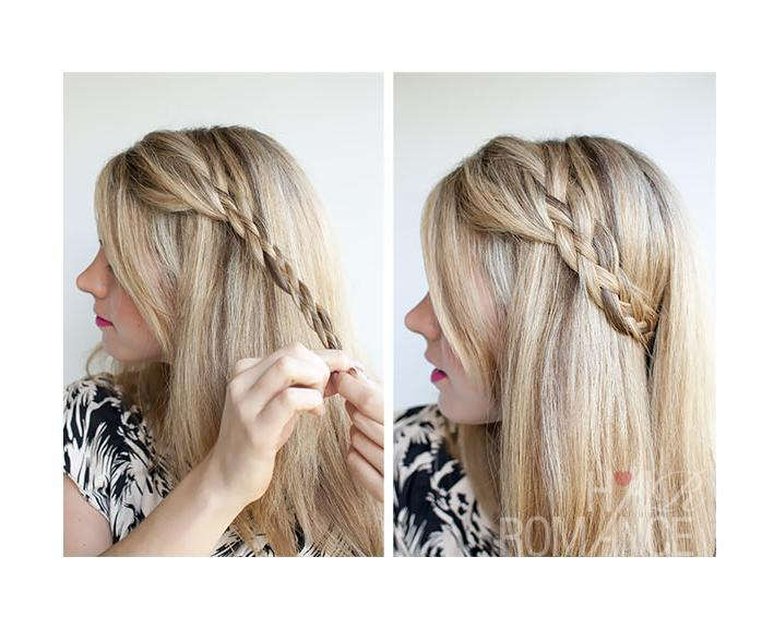 Keep repeating these steps until you have reached the end of your hair. Secure the end of your braid with a hair elastic. Use a bobby pin to pin your braid around your head. Arrange your hair over your braid to hide the end.