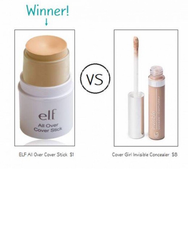 ELF All Over Cover Stick in Apricot Beige ($1) vs. Cover Girl Invisible Concealer in Fair ($7)