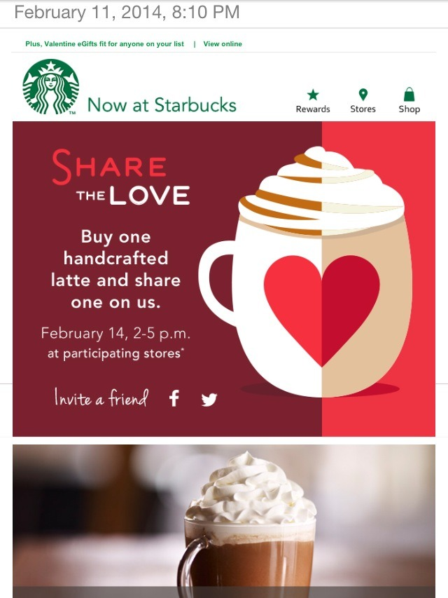 Take your valentine to Starbucks and heat things up with a free Latte ;)