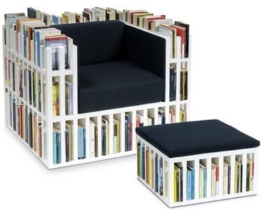 Book Shelf Chair Storage  This is such a brilliant idea. A chair and foot stool that double as a book shelf. Amazing!