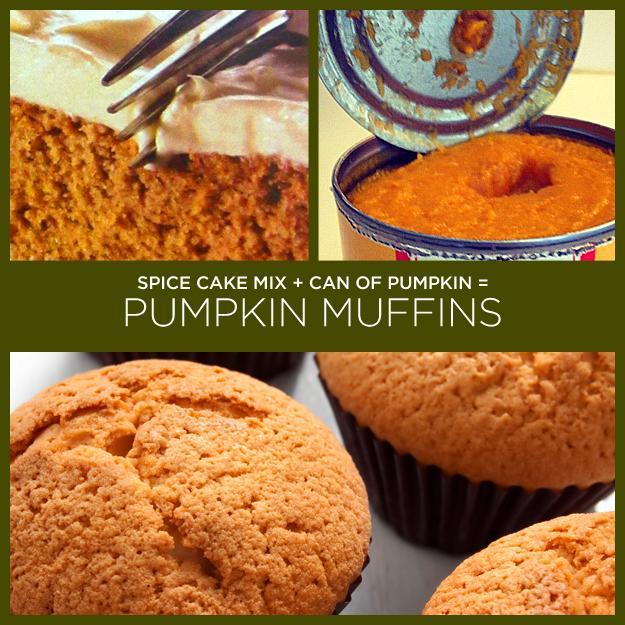 Spice Cake Mix + Can of Pumpkin = Pumpkin Muffins (Or Cookies)