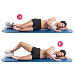 Clams Lie on your left side on the floor with your hips and knees bent 45 degrees Your right leg should be on top of your left leg and your heels should be stacked together. Keeping your feet in contact with each other, raise your right knee as high as you can without moving your pelvis.30 reps.