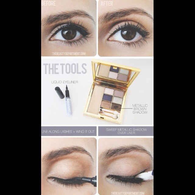 28. Soften The Line To soften the look, sweep a metallic brown shadow over the liner. This not only diminishes the hard-line, but also helps hide imperfections.
