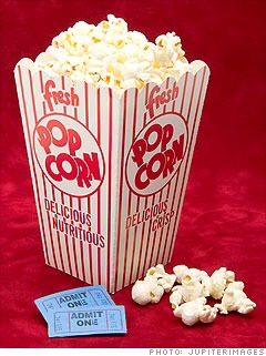 7. Avoid Buttered Movie Popcorn The large popcorn at the concession stand contains a whopping 1,005 calories. Sneak in your own microwaveable popcorn and save more than 700 calories.