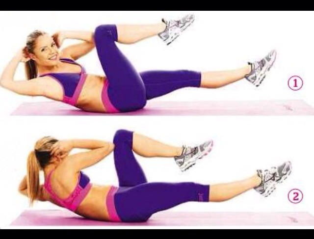 Bicycle crunches:   • these are the same as regular crunches except your left elbow will reach your right knee and vise-versa .   • Do this for atleast 30 seconds or more depending on your preference.