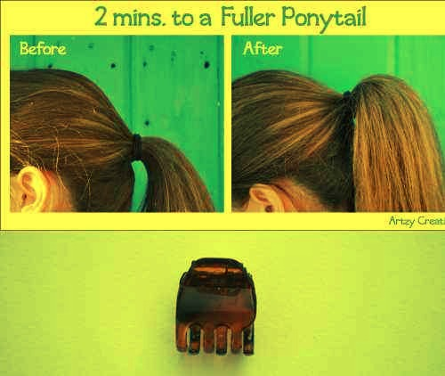 14. Make your ponytail look fuller with a hidden butterfly clip.