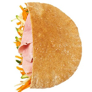 Leftover ham (or low-salt deli ham) in whole-wheat pita with shredded carrot and zucchini tossed in vinaigrette  Blueberries  Surf Sweets natural Gummy Bears