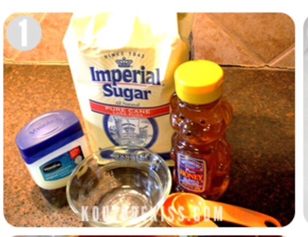 Ingredients: Mixing bowl spoon to mix with  Tablespoon Teaspoon Honey Granulated sugar  Vaseline  Chapstick