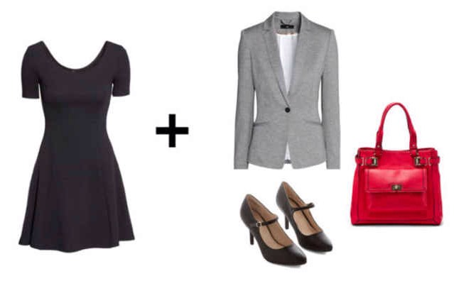 Want to make your dress work for a job interview or office setting? Layer a gray blazer over the top, pair it with black Mary-Jane heels, and carry a bold, structured tote.