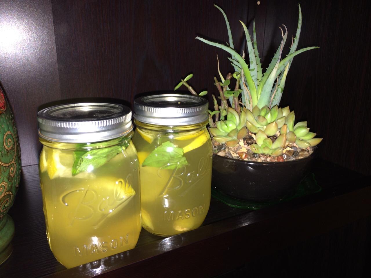 Lemon, Fresh Basil & Sliced Ginger infused water