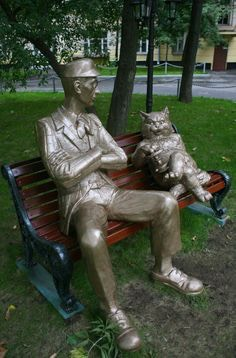 Koroviev and Behemoth statues in Moscow, Russia.   These statues are based of Mikhail Bulgakov's famous novel, Master and Margerita, which was written during the Soviet Union and banned as well.