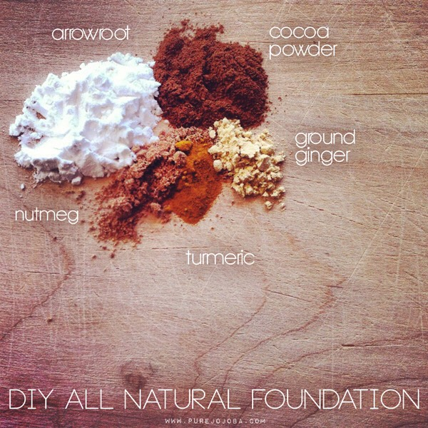 FOUNDATION | To make your foundation, you need arrowroot, cocoa powder, ground ginger, turmeric + nutmeg. I started with quite a bit of arrowroot + then added in the cocoa powder. I worked on getting it to a base that I liked + added in the turmeric, ginger + nutmeg to get the tan color I was looking for.