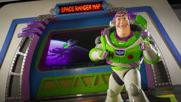 Buzz Lightyear Found outside of Buzz Lightyear's Space Ranger Spin in Tomorrowland.
