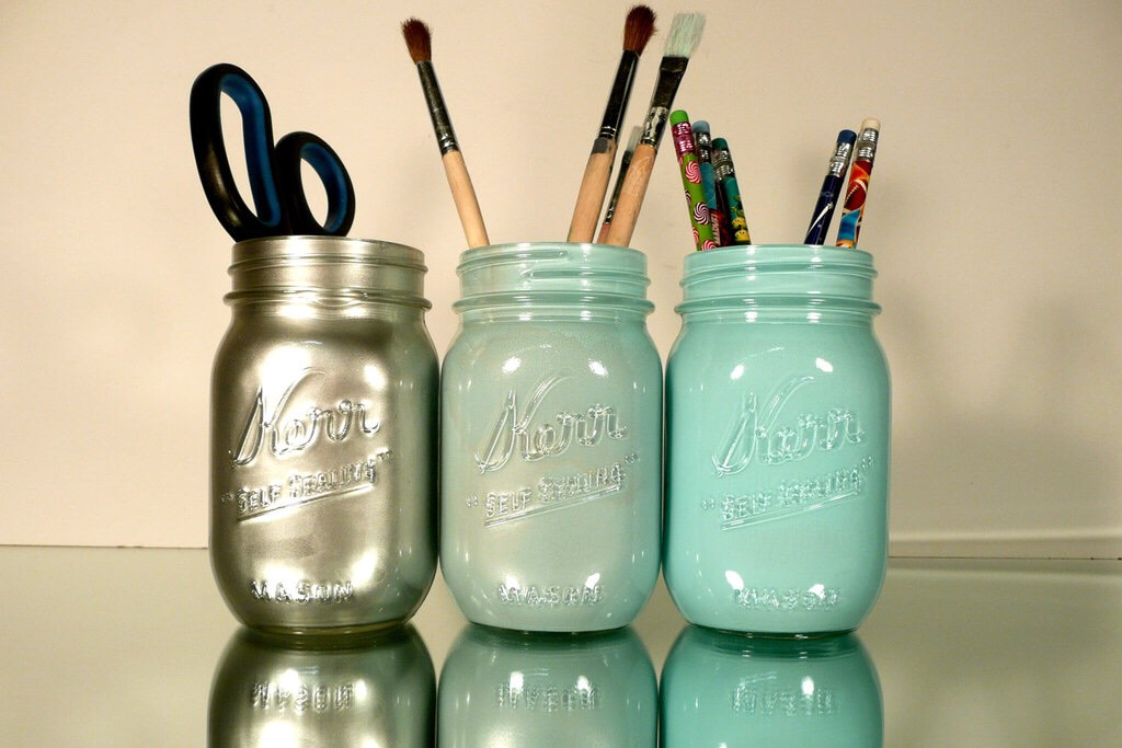 Use them for supplies organizers either on a desk or counter