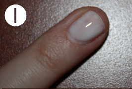 1.Apply a coat of elmers glue on whole nail and let it dry