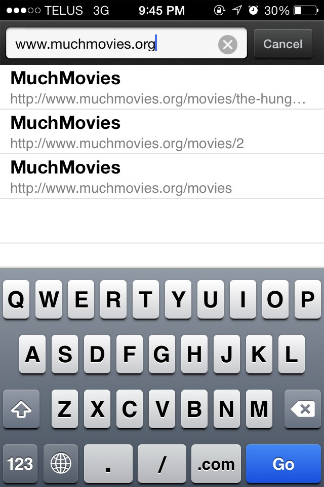Step 3:  In the search bar, type in 'www.muchmovies.org'