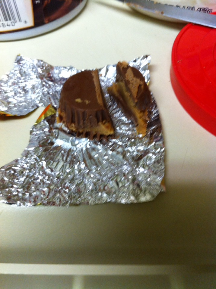 Cut your Reese miniature into 3/4. Eat that 1/4 leftover!