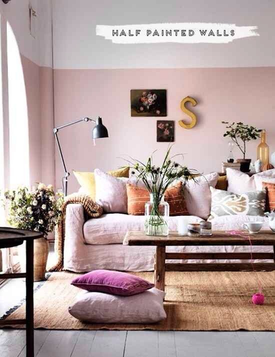 23. Half painted walls give the illusion of a taller ceiling.