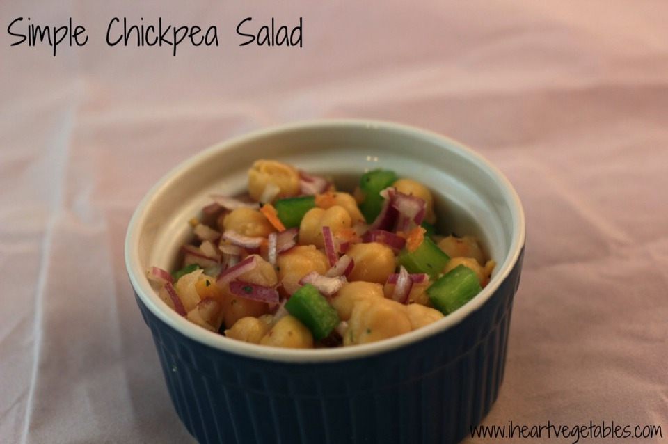 Starters: spicy chickpea salad!   Next page for recipe---------->