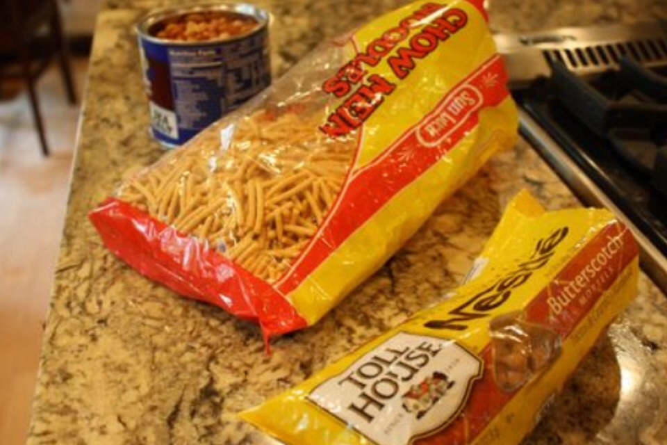 Bag of butterscotch or chocolate chips either way they are delicious a can of unsalted peanuts and a bag or can of chow mien noodles !