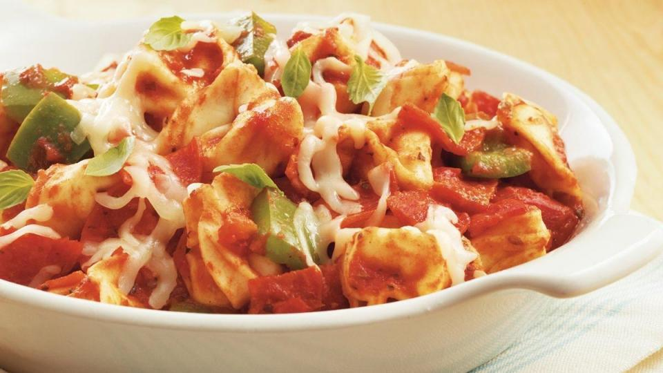 Quicker than pizza delivery, you can have this terrific pizza-flavored tortellini ready to dish up!