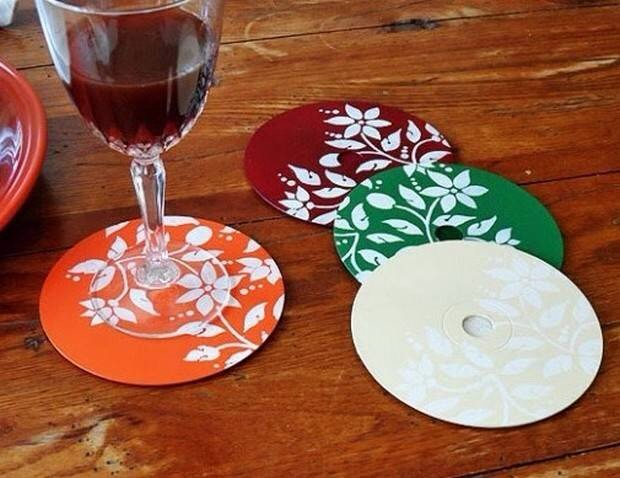 Amazing coasters!  Step 1~ draw a base design idea on the disk. I would recommend using a fine liner, but be careful not to smudge it!  Step 2~ paint or colour in the design that you've drawn and wait for it to dry.  Step 3~ place your coasters anywhere. It looks great wherever you pick!